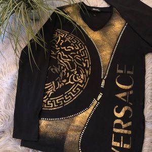 Beautiful NWT VERSACE Black Long Sleeve Top